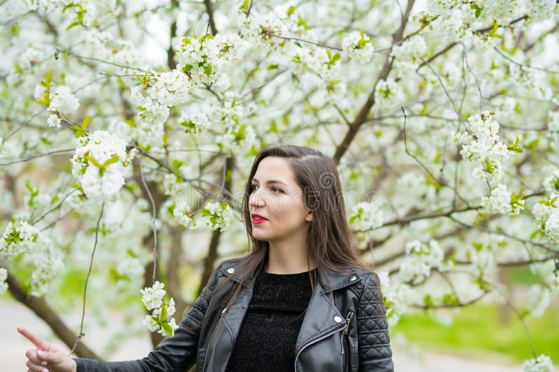 Pregnant girl near the blooming apple trees. pregnant girl with long hair in a standing dress.  royalty free stock photos