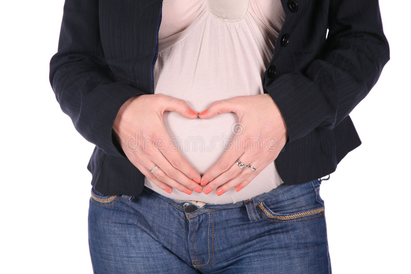 Pregnant hands stock photography