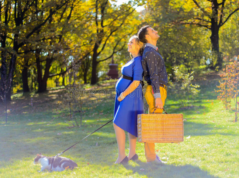 Pregnant happy and smiling couple on picnic with cat royalty free stock images