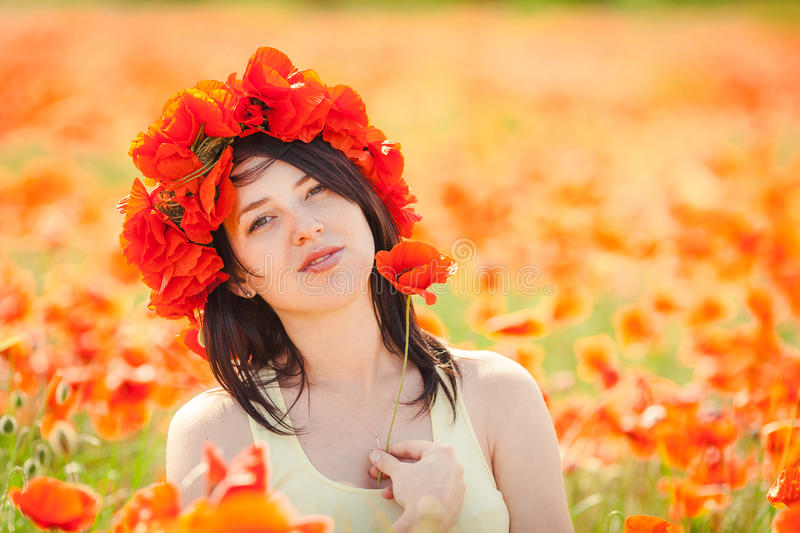 Download Pregnant Happy Woman In A Flowering Poppy Field Outdoors Stock Photography - Image: 36110982
