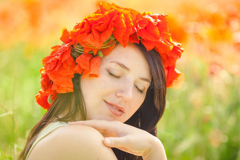 Pregnant Happy Woman In A Flowering Poppy Field Outdoors Royalty Free Stock Image