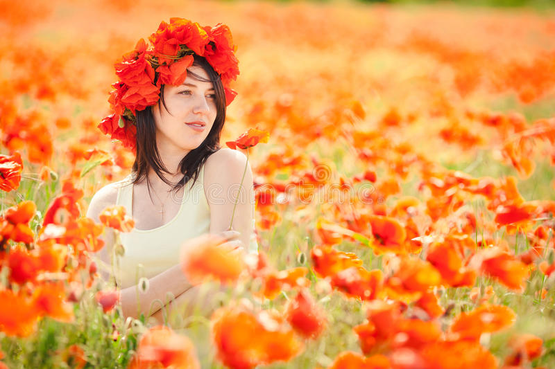 Download Pregnant Happy Woman In A Flowering Poppy Field Outdoors Royalty Free Stock Photography - Image: 36110997