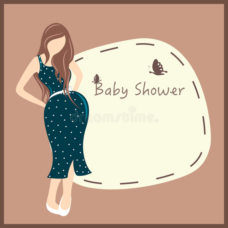 Pregnant lady for baby shower card design stock illustration baby shower party celebration invitation card or greeting card design ith pregnant lady and stylish text on a frame m4hsunfo