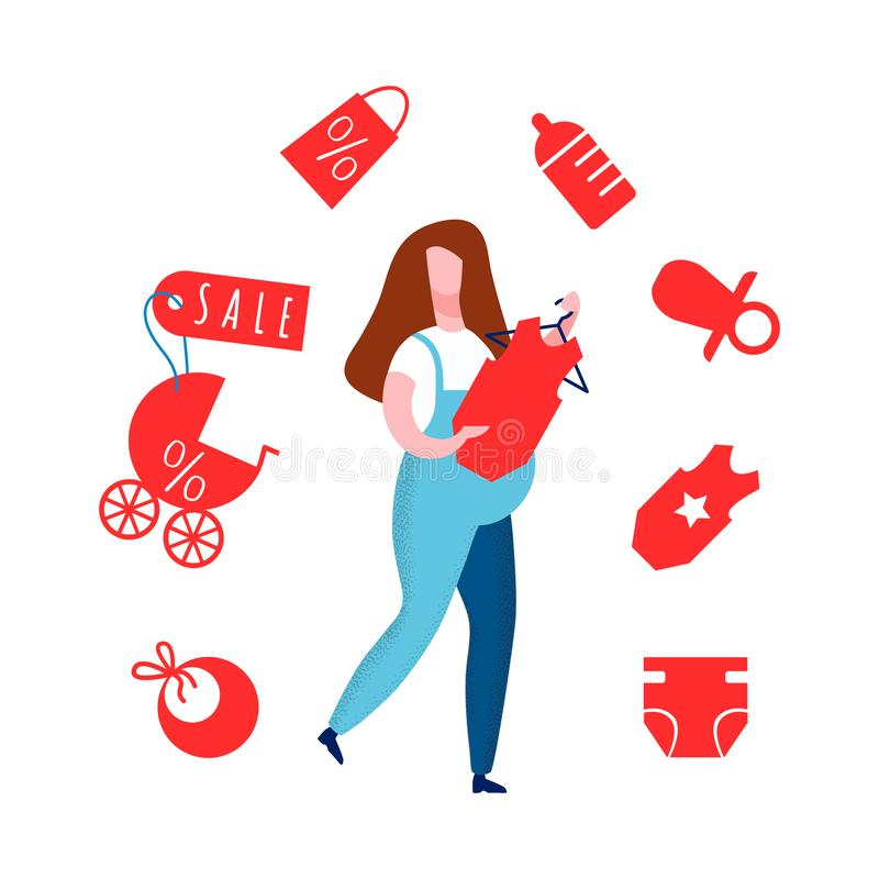 Pregnant Lady in Overall Flat Vector Illustration royalty free illustration
