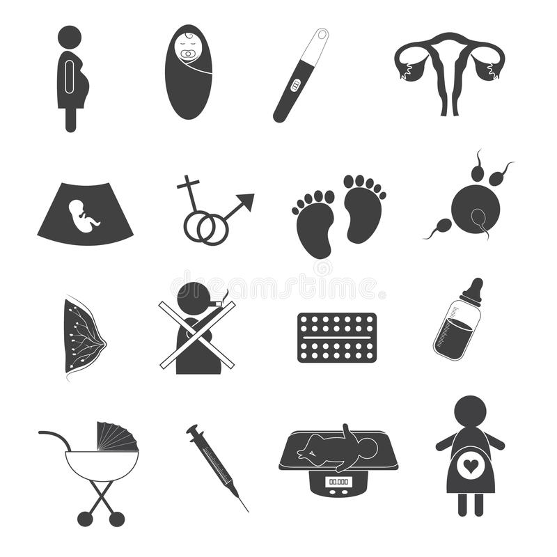 Pregnant and Maternity Icons Set. Health care and medical icons about pregnant and maternity in black and white color stock illustration