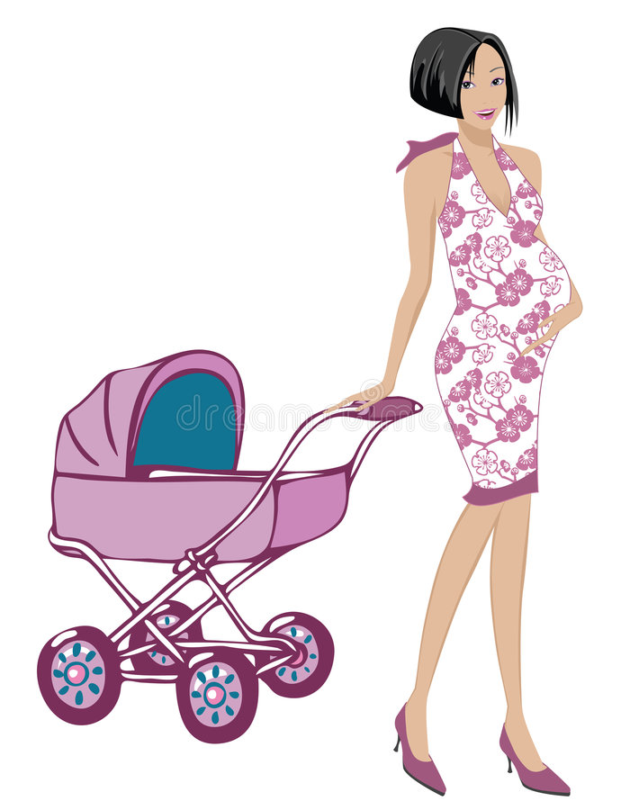 Pregnant Mom. With cute dress dragging a pink stroller