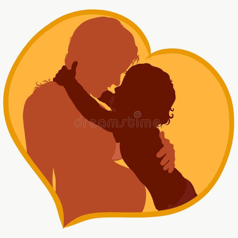 Pregnant mother and affectionate child, tender feelings heart.  vector illustration