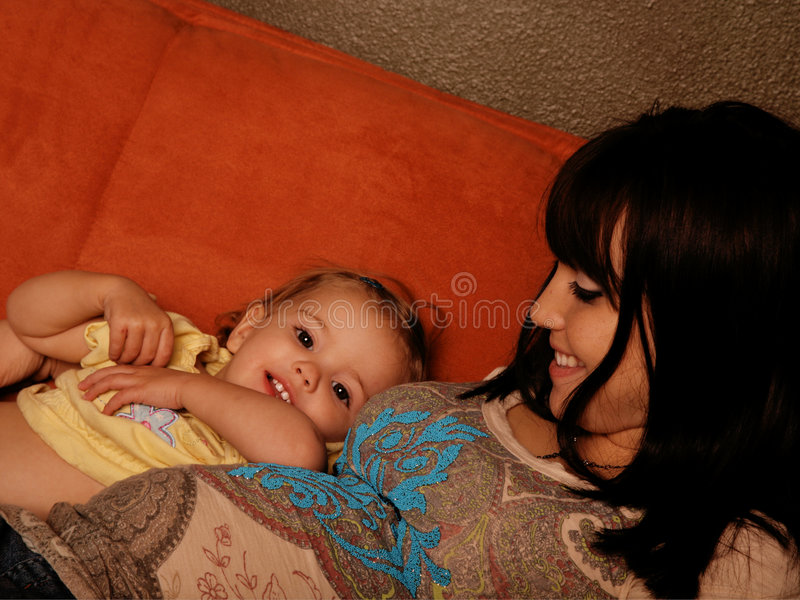 Pregnant Mother and Child stock photo