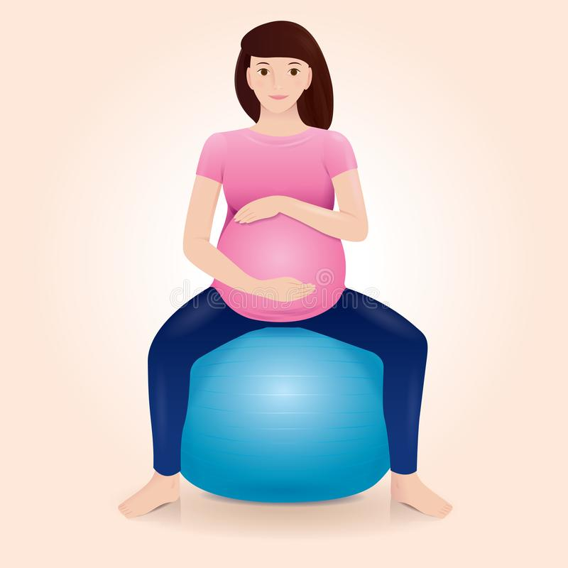 Pregnant mother doing exercises on gym ball. Pregnant mother is doing exercises on gym ball and holding her belly vector illustration