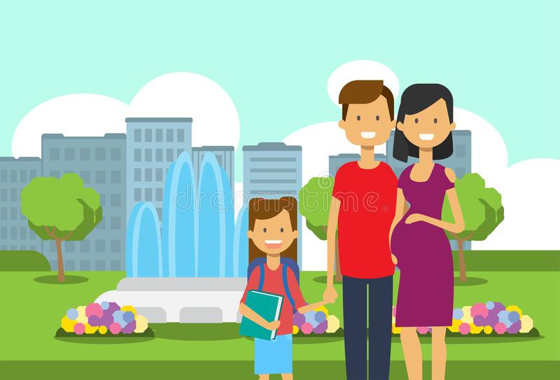 Pregnant mother father and daughter with book portrait avatar over city park children fountain flowers green lawn trees. Template cityscape background flat vector illustration