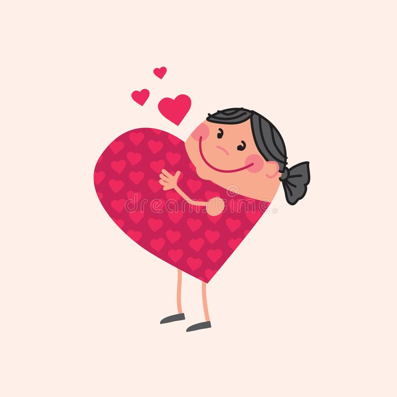 Pregnant mother in love in heart shape. Mother mascot in heart shape. Cute concept, pregnant woman in love and waiting baby. Cute pregnant girl smiling. Stock stock illustration