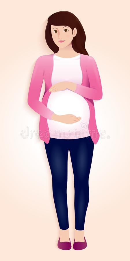 Pregnant mother standing and holding her belly stock illustration