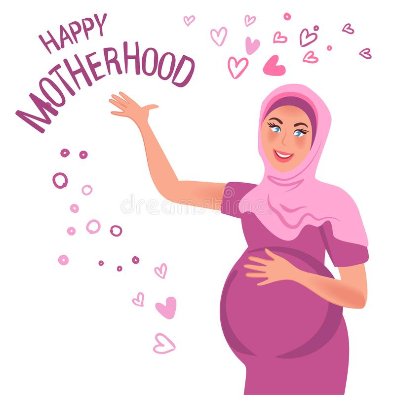 A pregnant woman is happy and touching her belly. Expecting a baby. Pregnancy. Happy motherhood. Vector illustration. A pregnant Oriental woman smiles, raising royalty free illustration