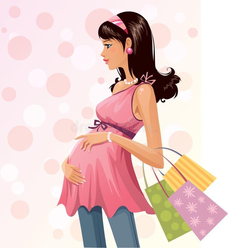 Pregnant shopper. Beautiful pregnant woman at shopping stock illustration