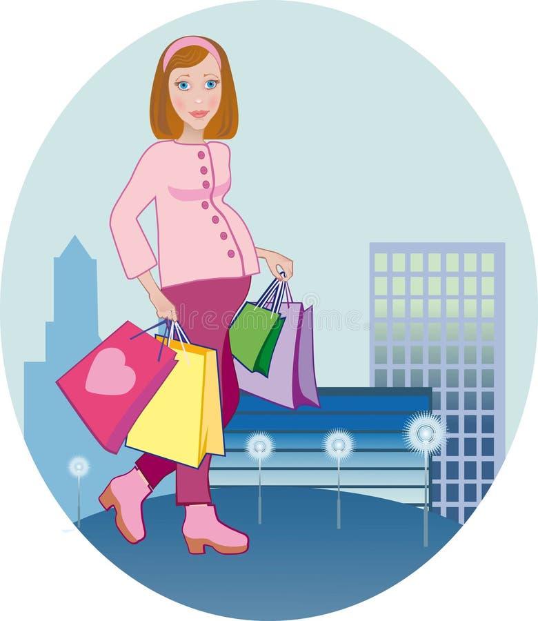 Pregnant Shopping Royalty Free Stock Photos