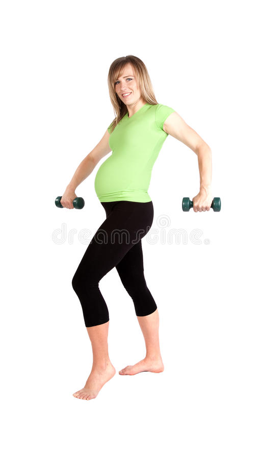 Download Pregnant Weights Arms Down. Stock Photo - Image: 14536820