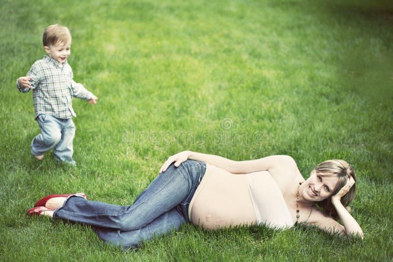 Pregnant woman stock photos