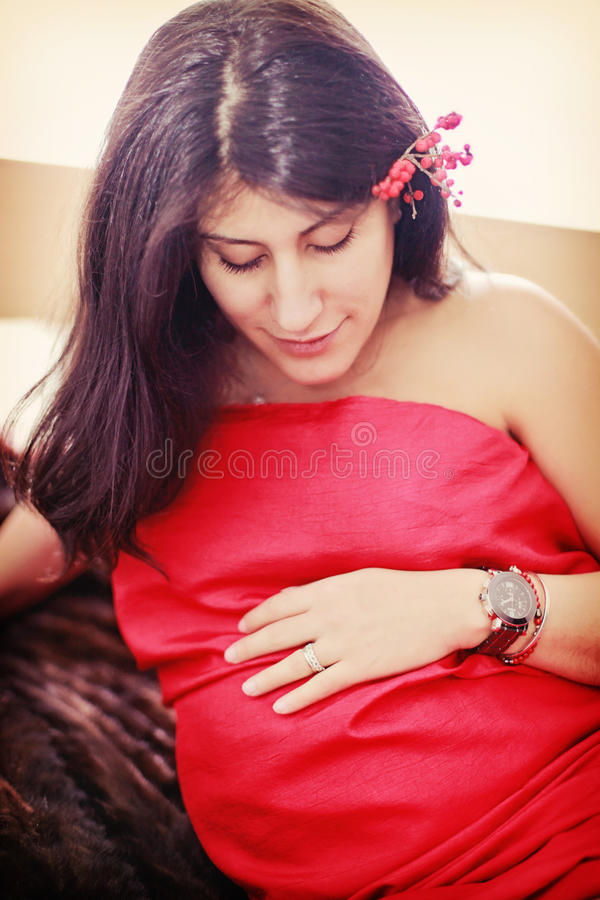 Download Pregnant woman stock image. Image of hair, ethnic, silk - 29346425