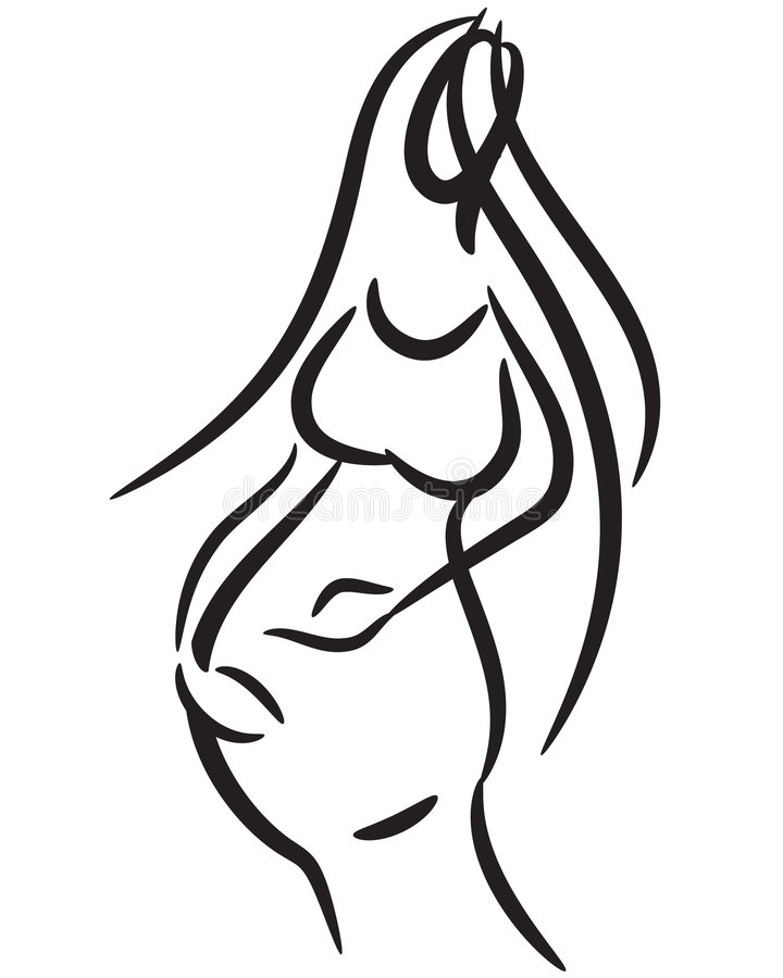 Pregnant woman. Pregnant mom woman hand drawn line vector illustration isolated over white background
