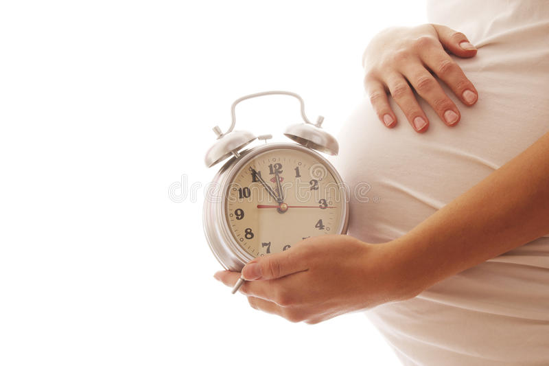 Pregnant woman with an alarm clock on a white background. A Pregnant woman with an alarm clock on a white background royalty free stock images