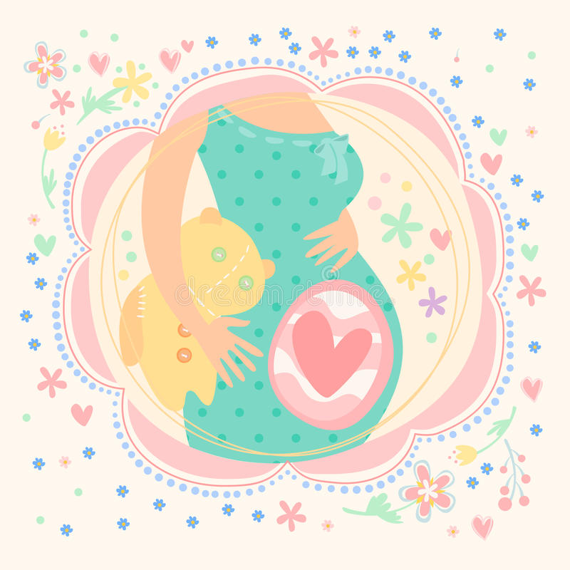 Pregnant woman with baby inside, happy child stock illustration