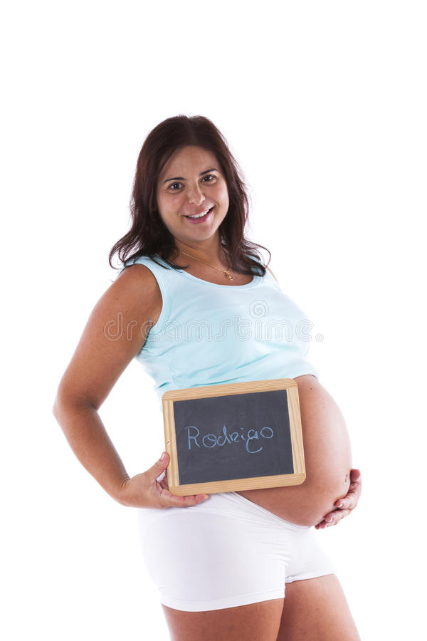 Pregnant woman and baby name royalty free stock image