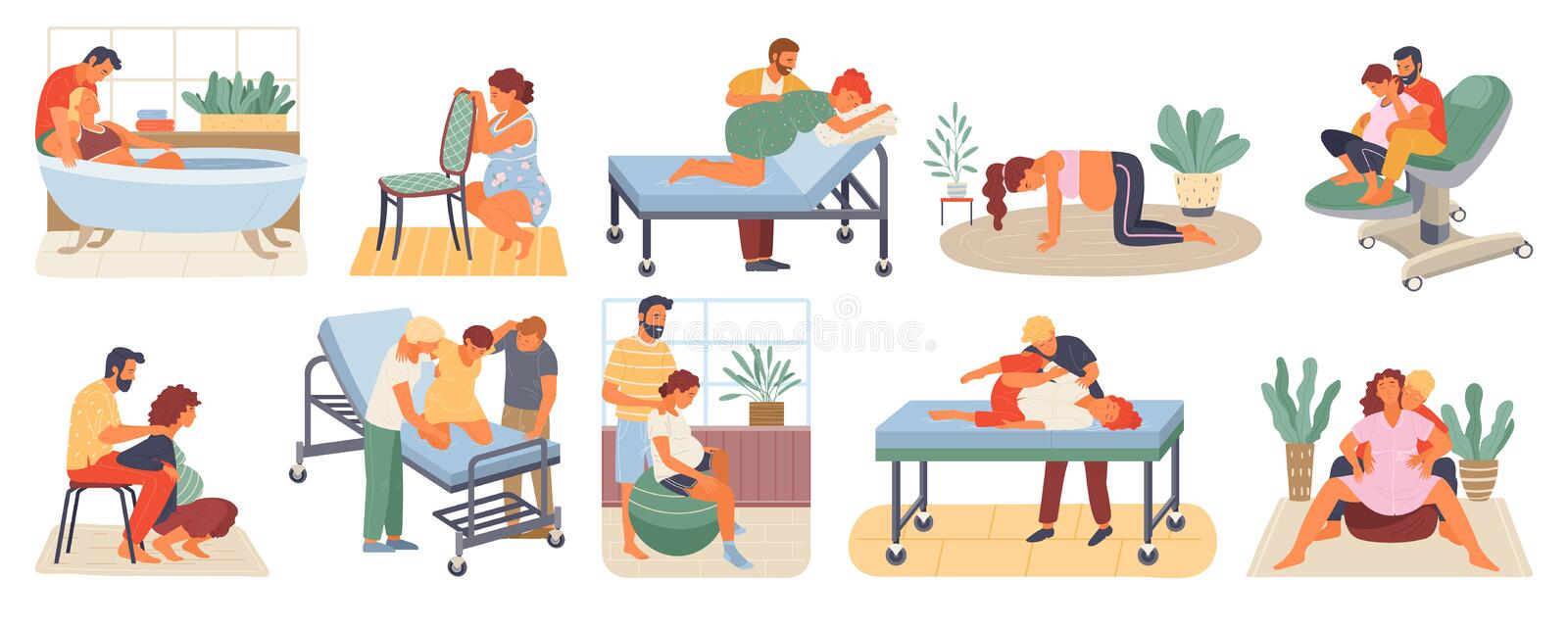 Pregnant Woman, Birth Positions, Infant Vector. Position of pregnant woman, reproduction set, man obstetrics. Female with belly giving birth on floor, chair and stock illustration