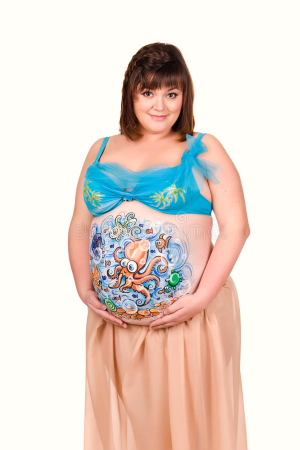 Download Pregnant Woman With Body-art Of Sea Life Stock Photo - Image: 23720152