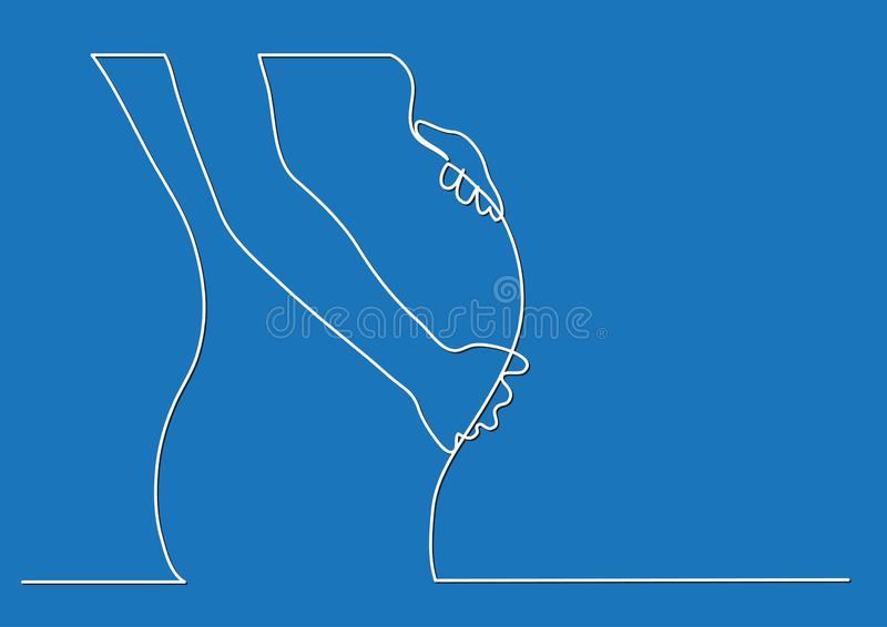 Pregnant woman body - single line drawing royalty free illustration