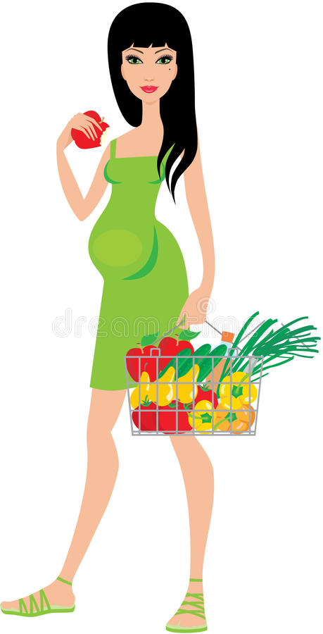 Download Pregnant Woman Buys Fruit And Eats An Apple Stock Vector - Image: 21765398