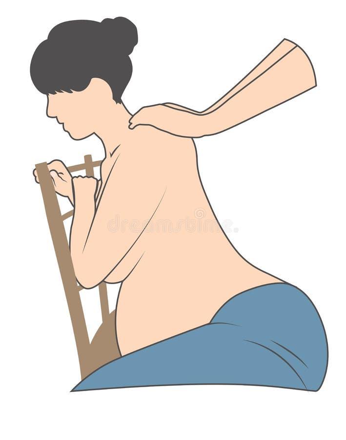 Pregnant Woman in Chair Getting Backrub. Pregnant Woman in Chair with back pain Getting Backrub stock illustration