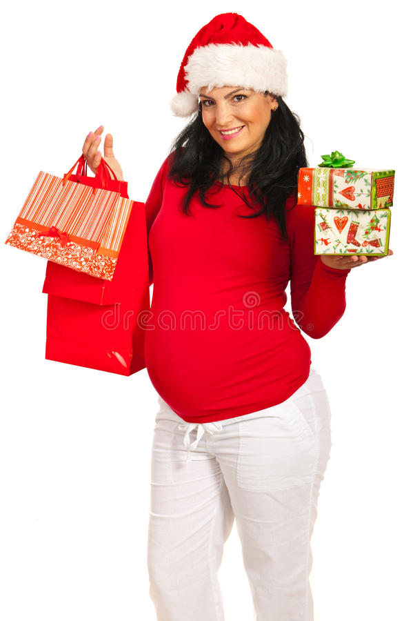 Download Pregnant Woman  With Christmas Shoppings Stock Photo - Image: 27651886