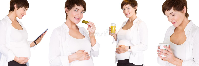 Pregnant woman collage royalty free stock photos