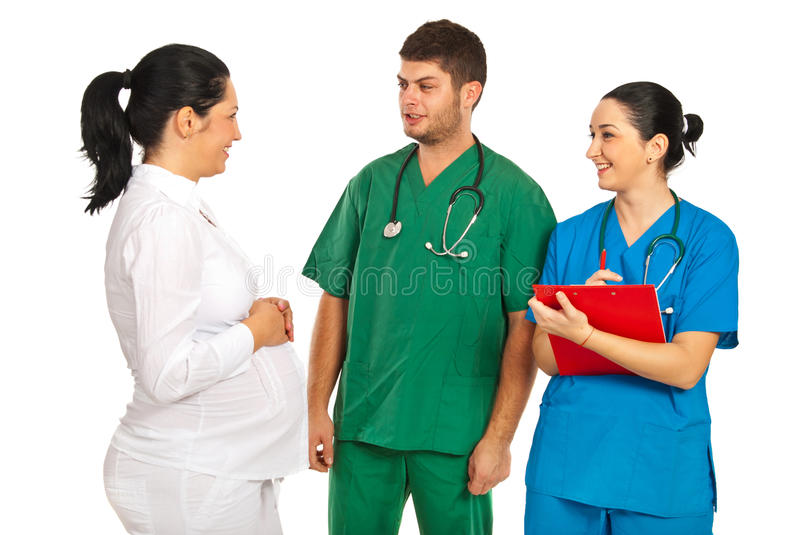 Download Pregnant Woman Discussion With Doctors Stock Image - Image: 27669023