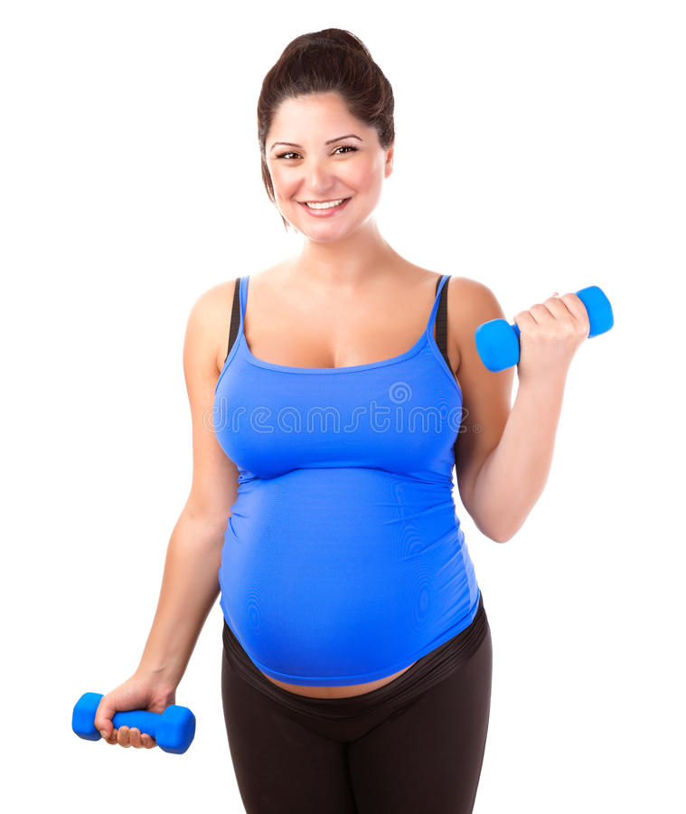 Pregnant woman do exercise royalty free stock image