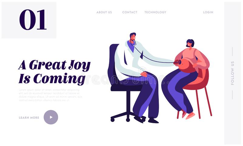 Pregnant Woman at Doctor Appointment in Clinic Website Landing Page. Male Doctor Character Listening Baby Heart Beating. Put Stethoscope on Belly Web Page royalty free illustration