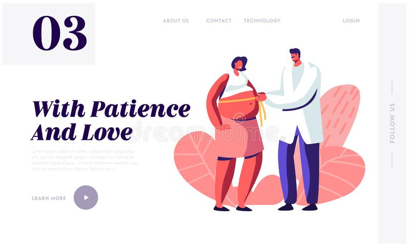 Pregnant Woman at Doctor Appointment in Clinic Website Landing Page, Male Doctor Character Measuring Belly with Tape Line stock illustration