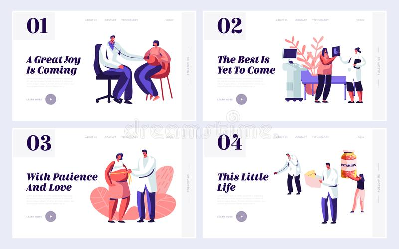 Pregnant Woman at Doctor Appointment in Clinic Website Landing Page Templates Set. Male Doctor Character Doing Medical Check Up. Healthy Pregnancy Web Page vector illustration
