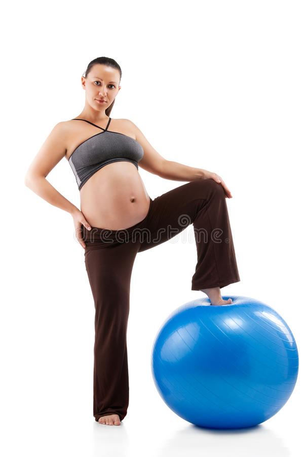 Download Pregnant Woman Doing Exercises Stock Photo - Image of lady, aerobics: 23875454