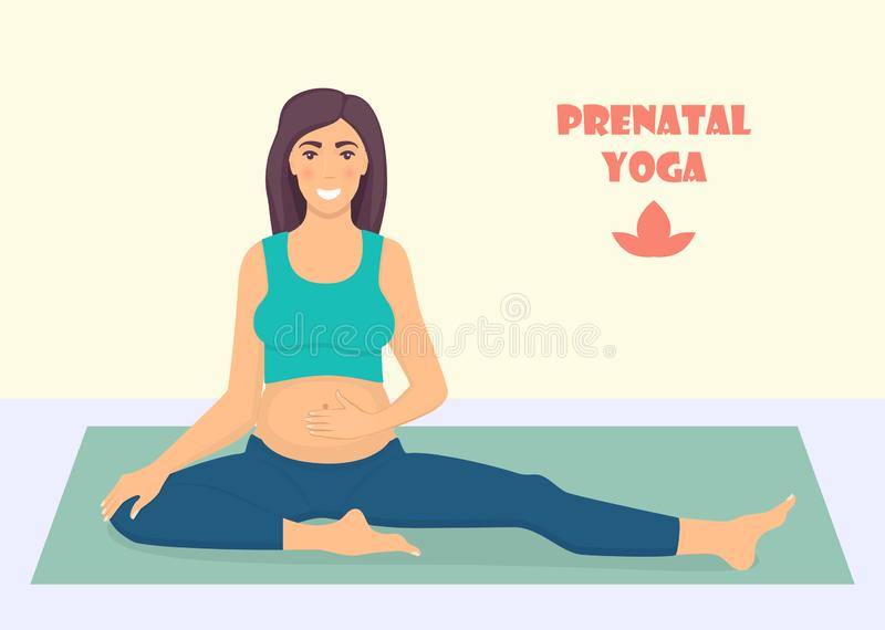 Pregnant woman doing yoga exercises on the mat. Yoga for pregnant women. Prenatal yoga. Vector illustration in flat style royalty free illustration