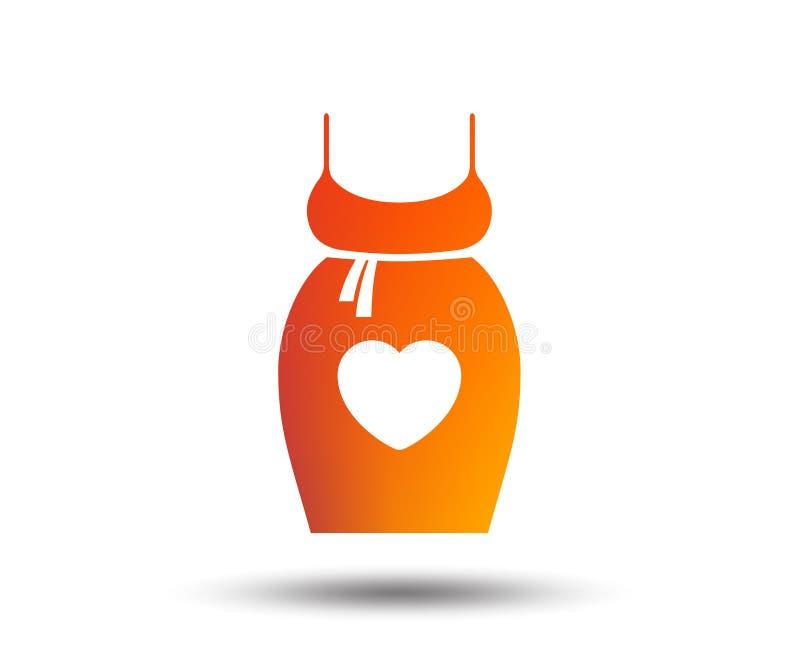 Pregnant woman dress sign icon. Maternity symbol. Pregnant woman dress sign icon. Maternity with heart clothing symbol Blurred gradient design element. Vivid stock illustration