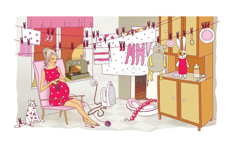 Pregnant woman is engaged in the last preparations before the birth of a child. Laundry and cleaning. Chaos and destruction in royalty free illustration