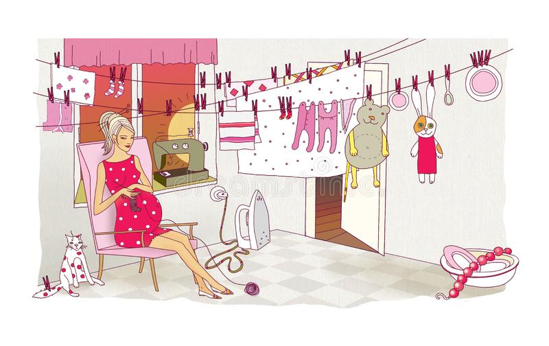 A pregnant woman is engaged in the last preparations before the birth of a child. Laundry and cleaning. Chaos and destruction in royalty free illustration
