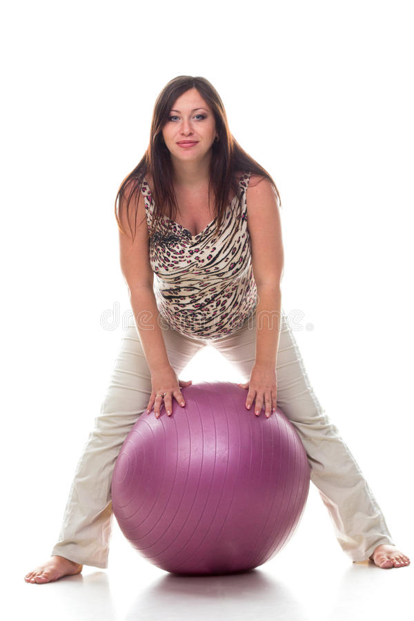 Pregnant Woman Exercises With Gymnastic Ball Royalty Free Stock Image