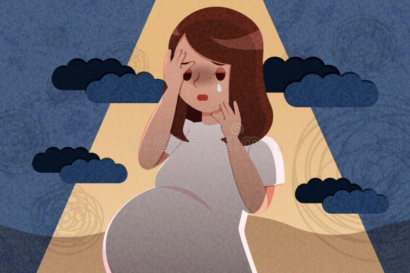 Pregnant woman feel depress stock illustration