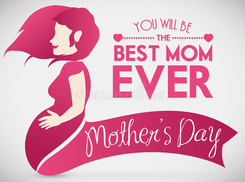 Pregnant Woman Fondling her Belly in Design for Mother's Day, Vector Illustration royalty free stock photography