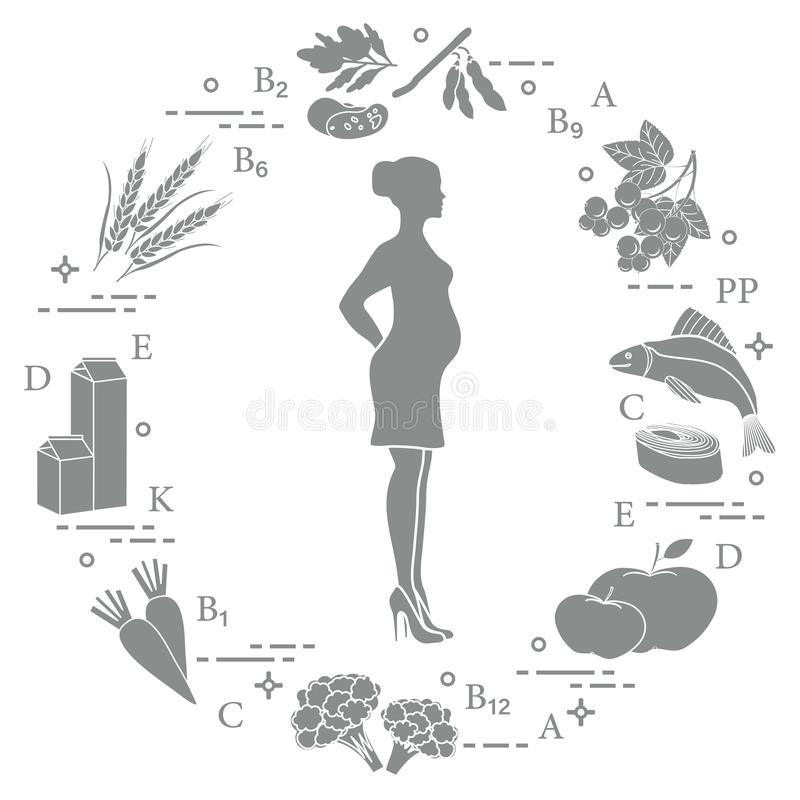 Pregnant woman and foods rich in vitamins useful for pregnant women. Fish, apples, cauliflower, carrots, dairy products, black vector illustration