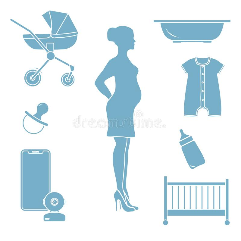 Pregnant woman and goods for babies. Stroller, crib, baby monitor, bottle, pacifier, bath for children, overalls royalty free illustration