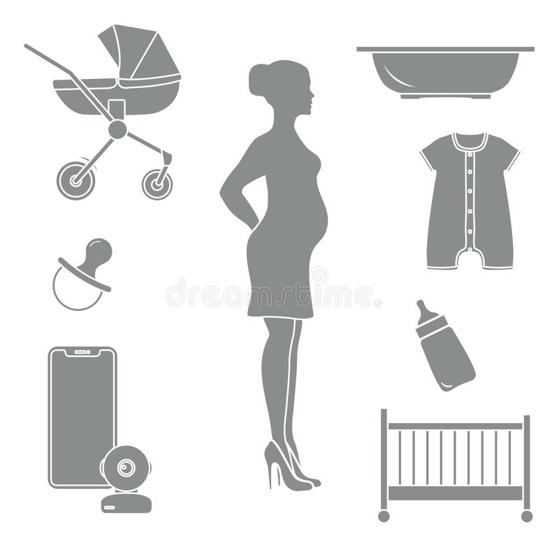 Pregnant woman and goods for babies. Stroller, crib, baby monitor, bottle, pacifier, bath for children, overalls stock illustration
