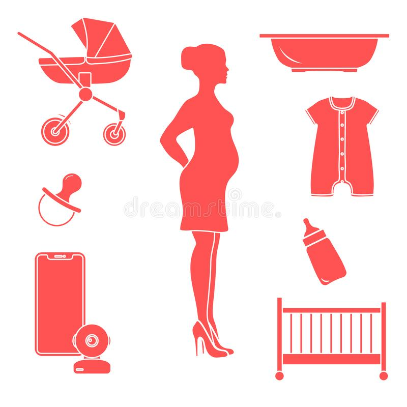 Pregnant woman and goods for babies. Stroller, crib, baby monitor, bottle, pacifier, bath for children, overalls vector illustration